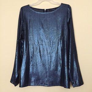 Stylestalker Blue Sequin Blouse Chiffon Top Sz 8